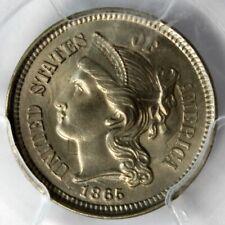 "1865 3-CENT ""NICKEL"",  PCGS Gen, AU Details, Smoothed"