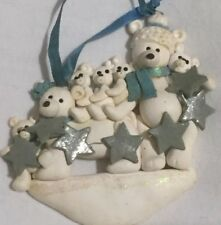 Christmas Tree Ornament Polar Bear Family Of 7 Personalize Girl Boy Mom Dad Star