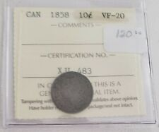 CAN Coins, ICCS Cert 1858 10 cent VF-20