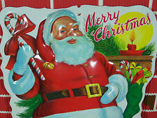 "18"" Vtg Plastic SANTA SIGN Molded Plastic Retro Christmas Wall Art Figurine NICE"