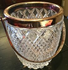 Vnt Irish Galway Leah Crystal Ice Bucket Silver Plated Handle Hobnail *