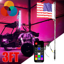 3FT RGB LED Whip Light 360° Antenna w/US Flag & Remote Polaris ATV RZR UTV 0.9M