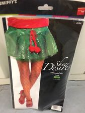LADIES, WOMENS GREEN SEQUIN CHRISTMAS ELF STYLE TUTU FANCY DRESS ACCESSORY