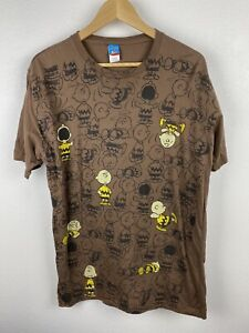 Vintage Peanuts Charlie Brown All Over Graphics Mens T Shirt Size XL Brown Crew