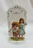 Antique Victorian Valentine's Day Card 3-D Die Cut Floral Boy Girl Germany Popup