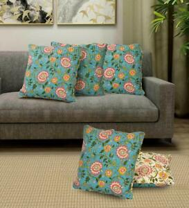 16 x 16 Inches, Pack of 5 Pcs Floral Printed Green Cushion Cover Set of Cotton