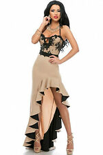 Abito lungo spacco Damigella Cerimonia Elegante Ballo Top Party Evening Dress M