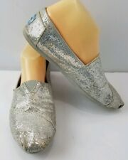 TOMS Womens Silver Glitter Slip On Shoes Size 8.5 Flats