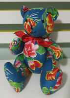 HANDMADE FLORAL TEDDY BEAR JOINTED 26CM BLUE TEDDY BEAR