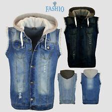 Men's Denim Stylish Ripped Jeans Biker Coat Shirt Sleeveless Hooded Vest Jacket