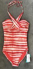 ~SEAFOLLY~BNWT~Osaka Stripe Wrap Front Maillot One-Piece Swimsuit~ Sienna ~Sz 10