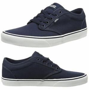 VANS Atwood Mens Canvas Trainers Plain Shoes Lace Up Plimsolls Navy UK 7 S10E3