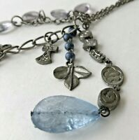Vintage Silver Tone Butterfly Blue Lucite Stone Charm Pendant Chain Necklace 35""