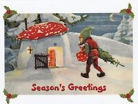 "*Postcard-Christmas/Season's Greetings-""Elf Walks Home W/Tree & Sack"" (V-34)"