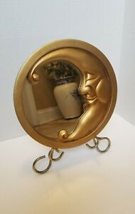 Crescent Moon Wall Mirror Brushed Gold -Man In The Moon Frame with Gold Finish