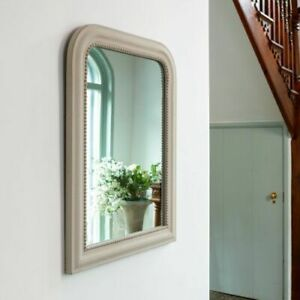 Stone Beige Arch Overmantel Mirror Distressed French Cheval Beaded Shabby Chic