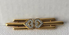 Gold Toned Metal & Rhinestones Pin Brooch Vintage Monet Art Deco Style Heart Bar