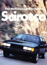 1983 VW Volkswagen Scirocco Wolfsburg Limited Edition Car Sales Brochure