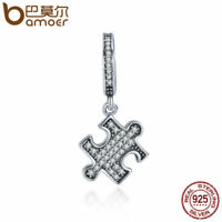 BAMOER Shining puzzle S925 Sterling silver Charm &Clear CZ For bracelet Jewelry