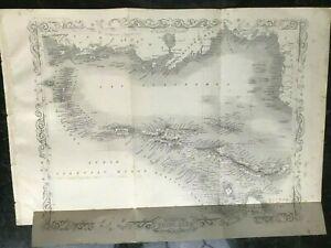 ANTIQUE MAP WEST INDIA ISLANDS C1850 LITHOGRAPH BY T RAPKIN