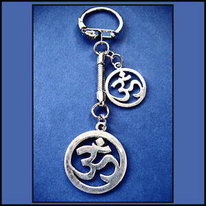 'OM'  IN CIRCLE LARGE CHARM KEY RING