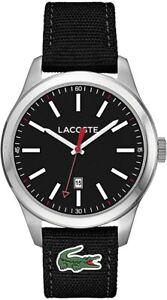 Genuine Lacoste 2010778 Men's Auckland Black Black Fabric Strap Date Watch