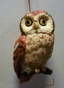 OWLS! Owl on branch, yellow eyes, Christmas ornament