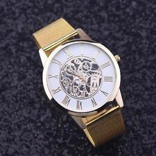 Lujo Malla de Acero Inoxidable de Banda de Oro Hueco Relojes Slim Hombres