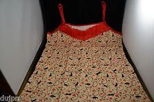 CARACO beige dentelle rouge TOP BRETELLES Beige JAPONAIS motif Chats  TAILLE M