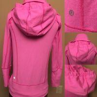Lululemon Pink Drawstring Hoodie Jacket In Stride Pink Wee Stripes Woman Size 2