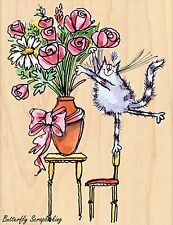 Furry Florist CAT Wood Mounted Rubber Stamp PENNY BLACK - NEW, 4389K