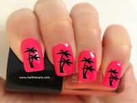 Nail WRAPS Nail Art Water Transfers Black Palm Trees for Natural/False Nails 449
