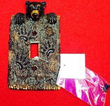 Lodge Rustic Log Cabin Decor Black Bear Single Light Switch Plate Covers