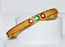 Estate 22C 22K 916 Solid Gold Filigree Enamel Twisted Rope Bangle Bracelet Kada