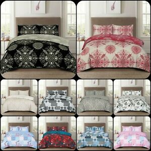 New Luxury 4pcs Cotton Rich Duvet Cover with Fitted Sheet & Pillowcases All Size