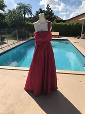 MAX MARA RED SILK ONE SHOULDER SLEEVELESS FORMAL GOWN DRESS Sz 12 MADE IN ITALY