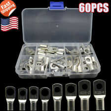 60Pcs Battery Cable Ends Lugs Tinned Copper Terminals Wire Connectors Solder Kit