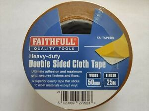 50mm x 25m HEAVY DUTY DOUBLE SIDED CLOTH TAPE SELF ADHESIVE GENERAL USE