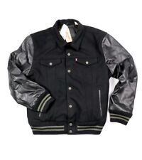 LEVI BLACK LEATHER WOOL VARSITY TRUCKER JACKET L lvc vtg