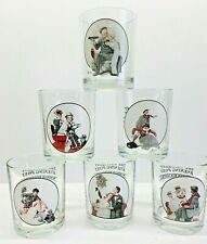 Vintage Set Of 6 Norman Rockwell Saturday Evening Post Bar Glasses