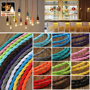 2/3 Core Twisted Vintage Style Braided Fabric Cable Flexible Lamp Lighting Cord