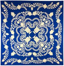 Blue & White Floral Baskets Hand Applique QUILT TOP - incredible details