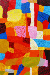 HUGE 110cm by 75cm Dot Painting, Original Abstract Contemporary Art