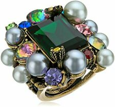 Betsey Johnson Large Green Crystal and pearl Statement Ring Size 6.5/ 7