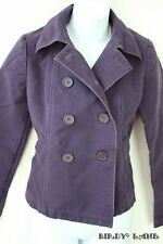 GAP Double Breasted Pea Coat Jacket Purple Cotton Button Tab Back Womens Size XS