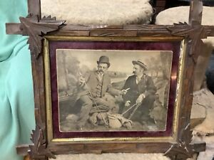 Antique 2 Men Fly Fishing Print w Wood Adirondack Frame Stunning