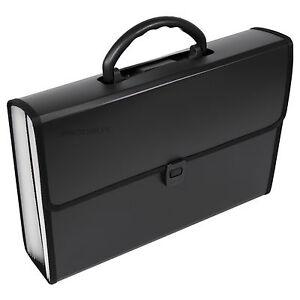 Black Expanding File 26 Part Concertina A4 Paper Document Storage Carry Case