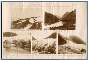 Ice Action of Present and Glacial Epochs  Vintage print. 5 photos 5 x 7 cm. Norw
