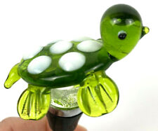 Adorable Glass Turtle Wine Bottle rubber Stopper Green with white spots