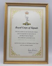 Post WW2 British Royal Corps Of Signals Leaving Colours Certificate A. S. Wilson